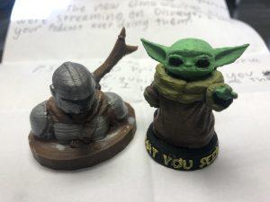 3d printed Baby Yoda and the Mandalorian